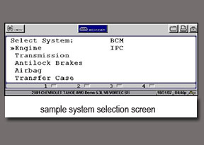 sample systems selection screen