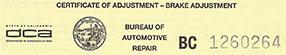 Brake And Lamp Inspection Certification Glendale Ca