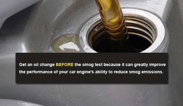 smog test pass tip - get oil change